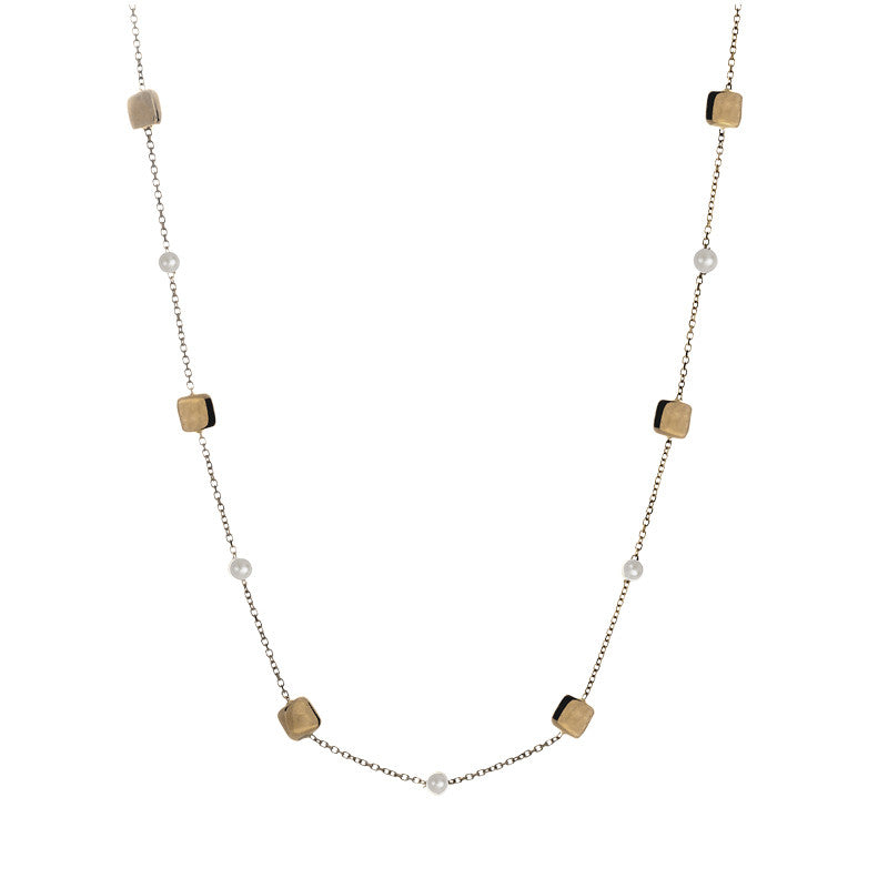 14 Karat Yellow Gold Freshwater Pearl and Gold Square Bead Station Necklace, 16.9 inch.