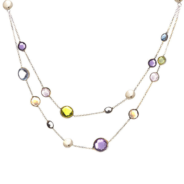 14 Karat Yellow Gold Multi-color and Gold Bead 2 Strand Station Necklace, 17 inch.