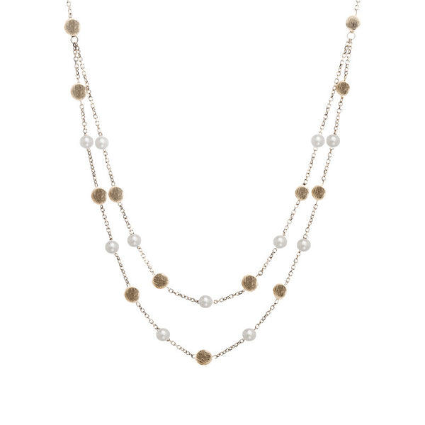 14 Karat Yellow Gold Freshwater Pearl and Gold Bead Station 2 Strand Necklace, 17.7 inch.