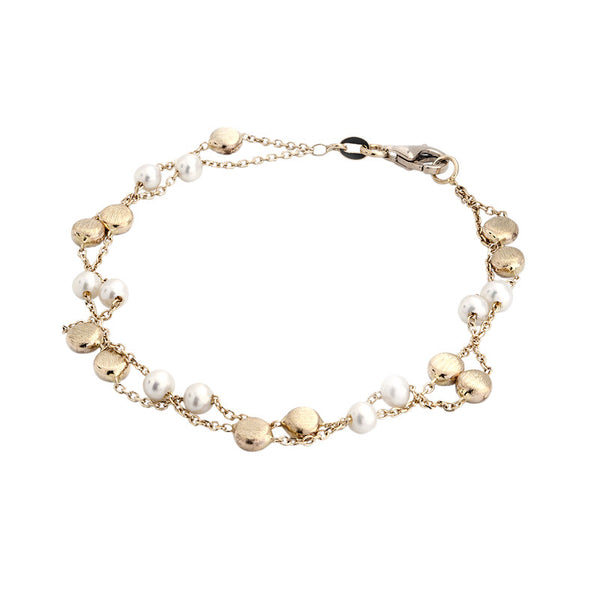 14 Karat Yellow Gold 2 Row Freshwater Pearl and Gold Round Bead Station Bracelet, 7.50 inch.