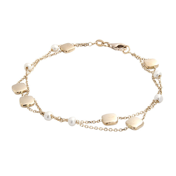 14 Karat Yellow Gold 2 Row Freshwater Pearl and Gold Square Bead Station Bracelet, 7.50 inch.