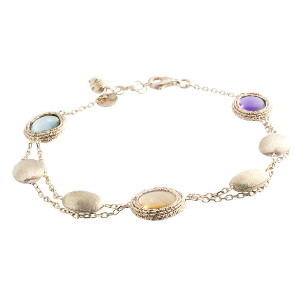 14 Karat Yellow Gold 2 Row Multi-Color Stone and Gold Bead Station Bracelet
