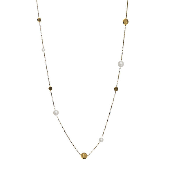 14 Karat Yellow Gold Freshwater Pearl and Gold Bead Station  Necklace, 27.5 inch.
