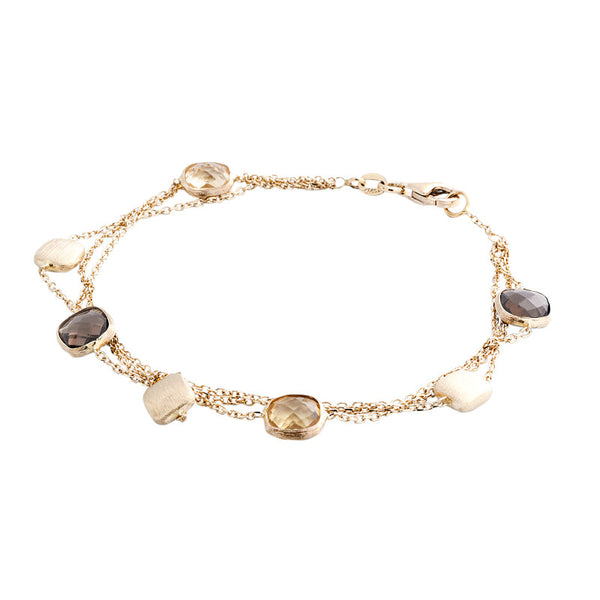 14 Karat Yellow Gold 3 Row Gold Square Bead and Quartz Station Bracelet, 7.50 inch.