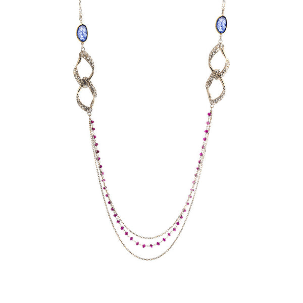 14 Karat Yellow Gold Ruby and Sapphire Multi Strand Necklace, 31.5 inch.