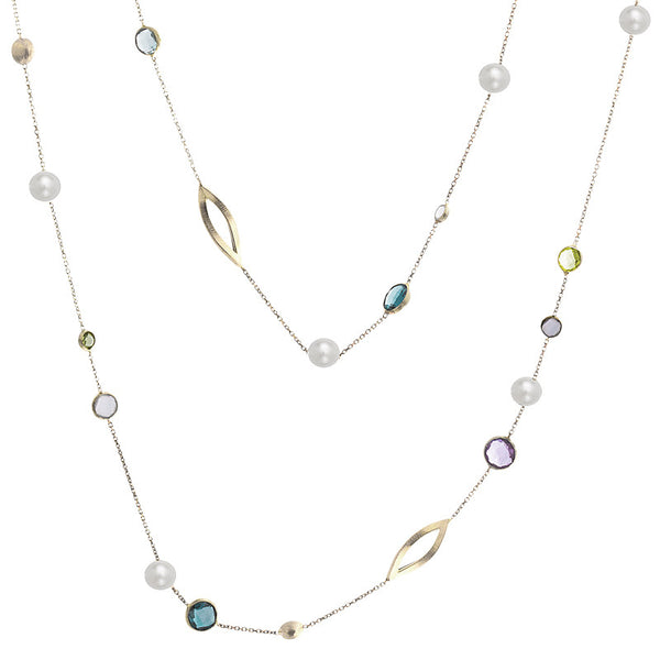 14 Karat Yellow Gold Multi-color Stone and Open Marquise Link  Necklace, 35.4 inch.