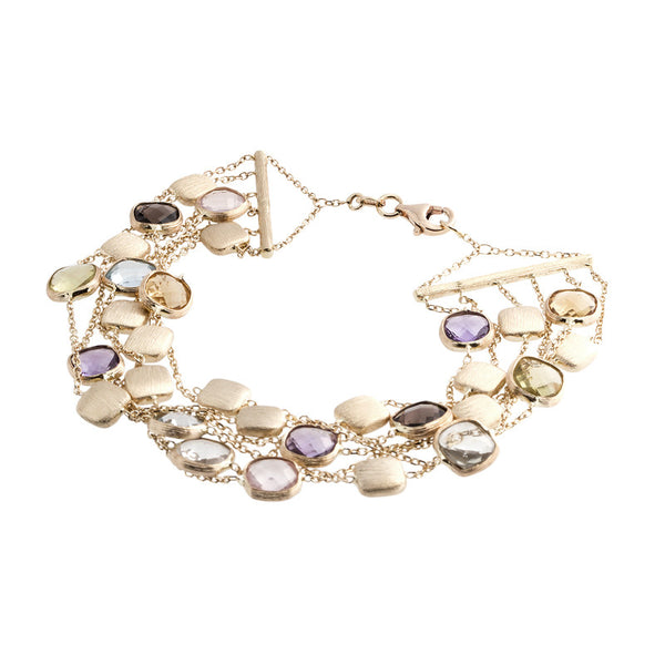 14 Karat Yellow Gold 6 Row Multi Color Stone and Gold Bead Station Bracelet, 7.50 inch.