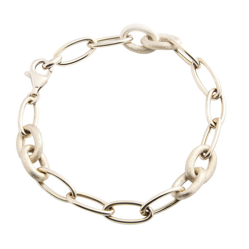 14 Karat Yellow Gold Polished and Textured Open Link Bracelet, 7.75 inch.