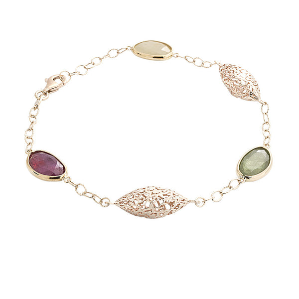 14 Karat Yellow Gold Sapphire, Ruby and Elongated Gold Bead Station Bracelet, 7.75 inch.
