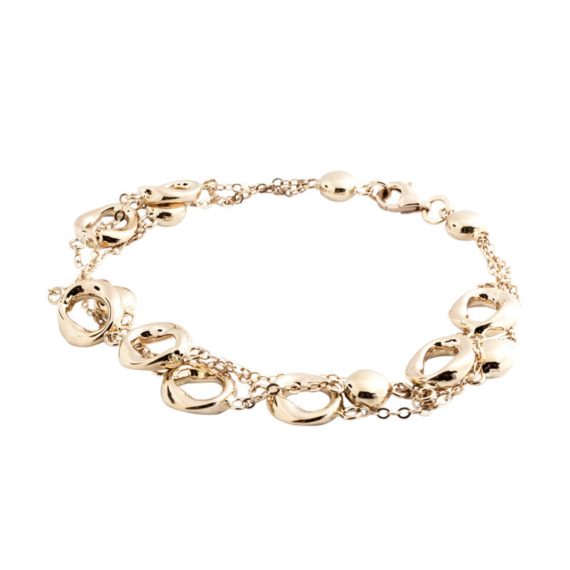 14 Karat Yellow Gold 3 Row Gold Bead Station Bracelet, 8 inch.