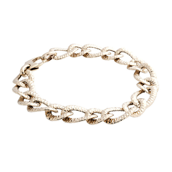 14 Karat Yellow Gold Textured Curb Link Bracelet, 8.25 inch.