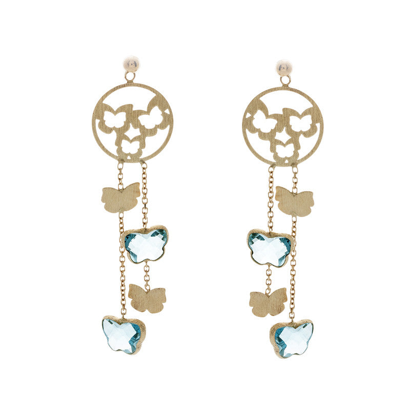 14 Karat Yellow Gold Butterfly Blue Topaz Earring