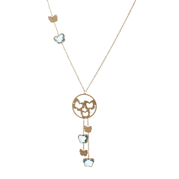 14 Karat Yellow Gold Butterfly Blue Topaz Necklace