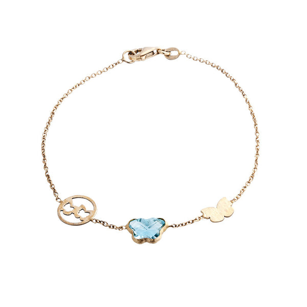 14 Karat Yellow Gold Butterfly Blue Topaz Bracelet