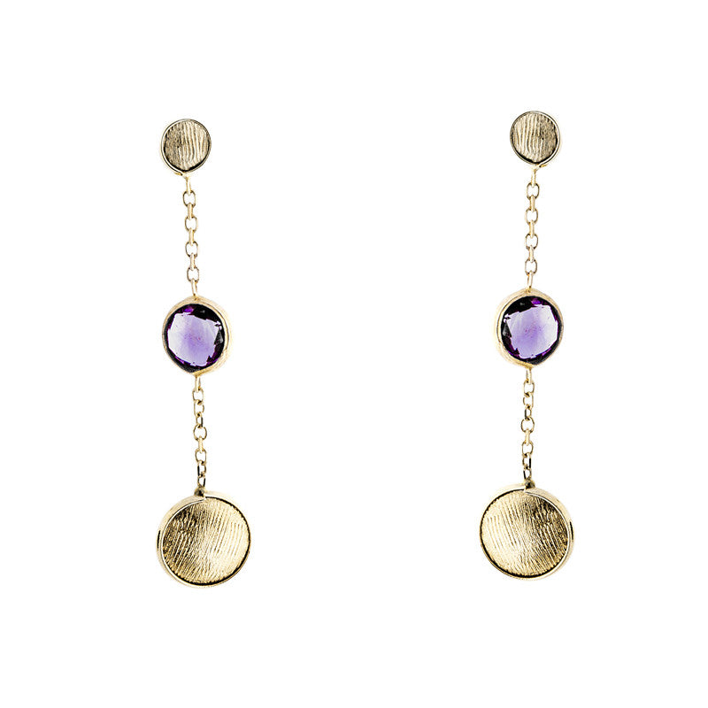14 Karat Yellow Gold Gold Bead and Amethyst Station Earring