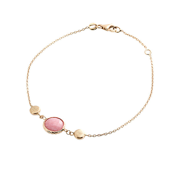 14 Karat Yellow Gold Pink Opal and Gold Bead Bracelet