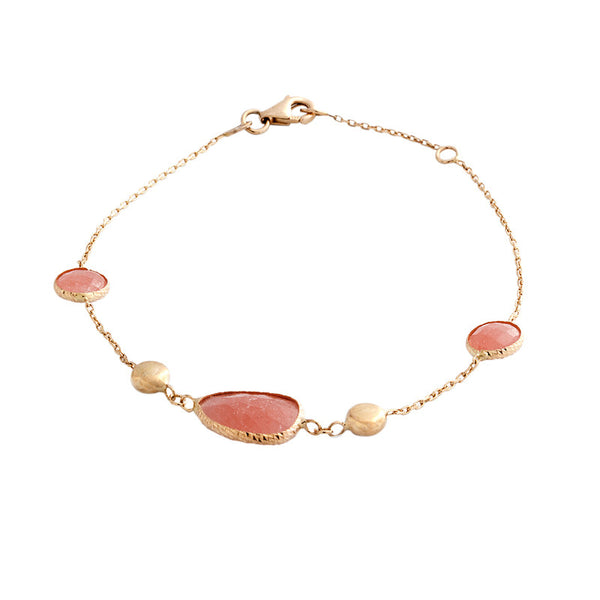 14 Karat Yellow Gold Pink Jade and Gold Bead Bracelet