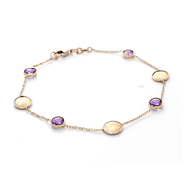 14 Karat Yellow Gold Amethyst and Gold Bead Station Bracelet