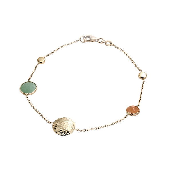 14 Karat Yellow Gold Jade and Gold Bead Bracelet