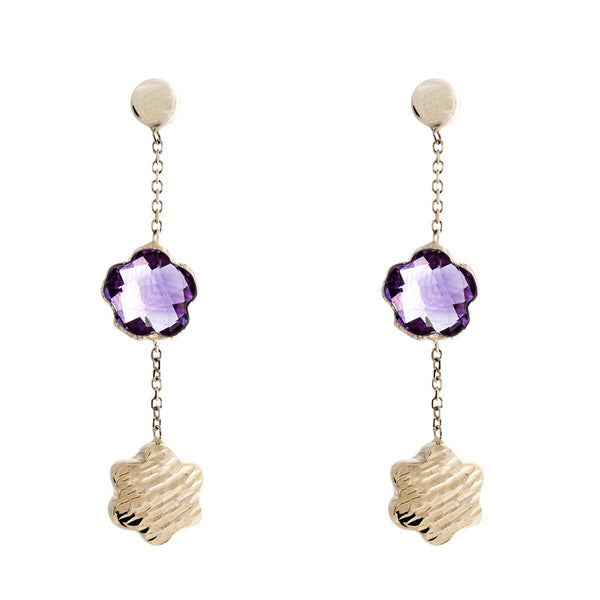 14 Karat Yellow Gold Amethyst and Gold Bead Flower Shaped Station Earring