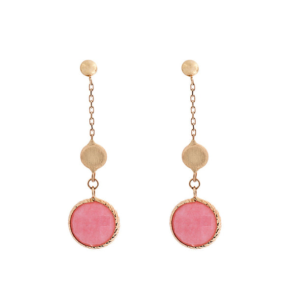 14 Karat Yellow Gold Pink Opal and Gold Bead Station Earring