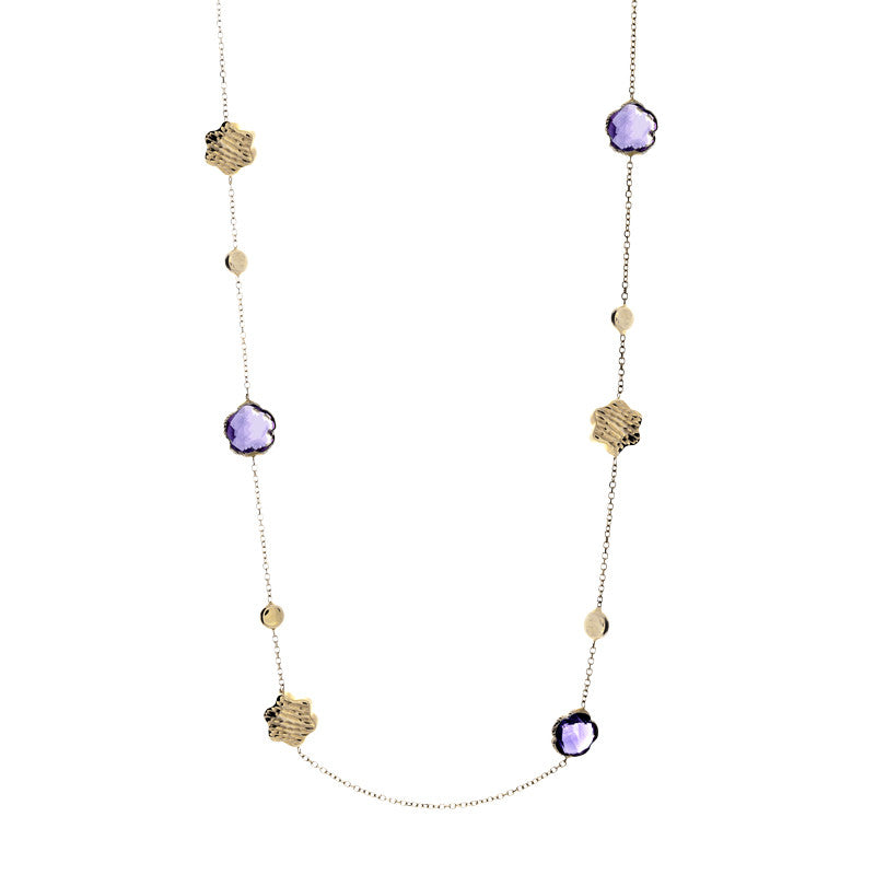 14 Karat Yellow Gold Flower Amethyst and Gold Bead Station Necklace