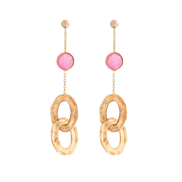 14 Karat Yellow Gold Pink Jade and Oval Link  Earring