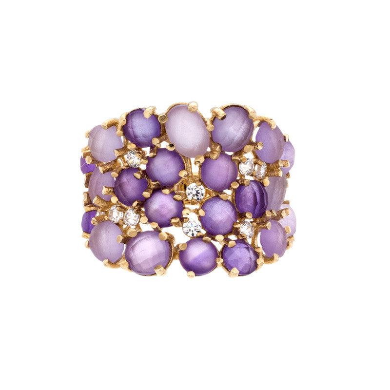 14 Karat Yellow Gold Amethyst and White Sapphire Ring