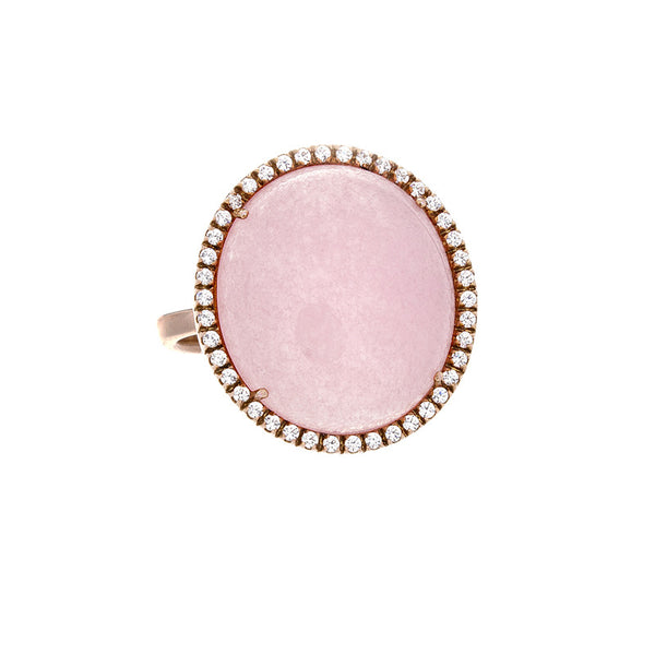 14 Karat Rose Gold Pink Chalcedony and White Sapphire Ring