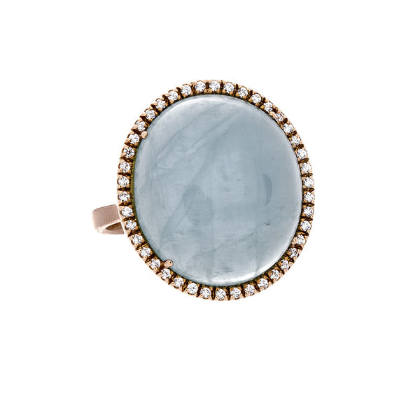 14 Karat Rose Gold Blue Chalcedony and White Sapphire Ring