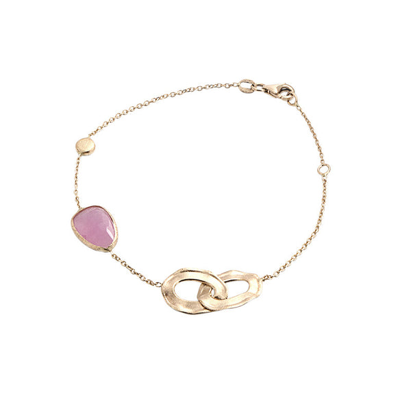 14 Karat Yellow Gold Pink Jade, Gold Bead and Gold Link Station Bracelet