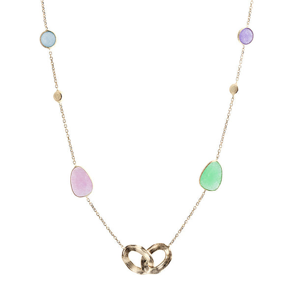 14 Karat Yellow Gold Jade, Gold Bead and Gold Link Station  Necklace