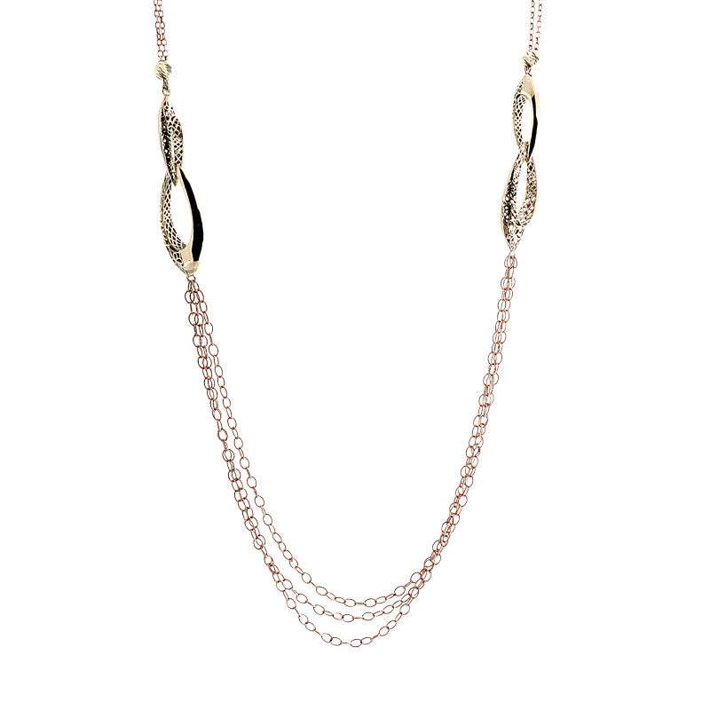 14 Karat Two-Tone Gold Large Yellow Links with Rose Chain Strands Necklace, 23.5 inch.