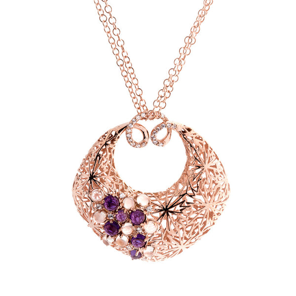 14 Karat Rose Gold Open Cushion Shaped with Moonstone and Amethyst Necklace, 17.5 inch.