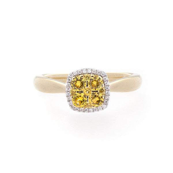 Bellagio Collection Pave Yellow Sapphire Cushion Ring
