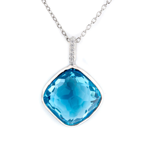 Como Collection 12mm Cushion Blue Topaz with Diamond Pendant