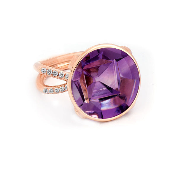 Giardino Collection Tom Munsteiner Round Amethyst and Diamond Ring