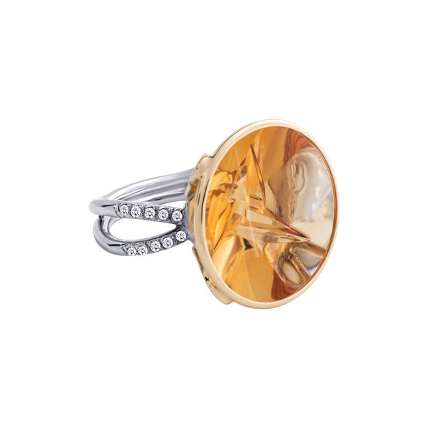 Giardino Collection Tom Munsteiner Round Citrine and Diamond Two-Tone Ring