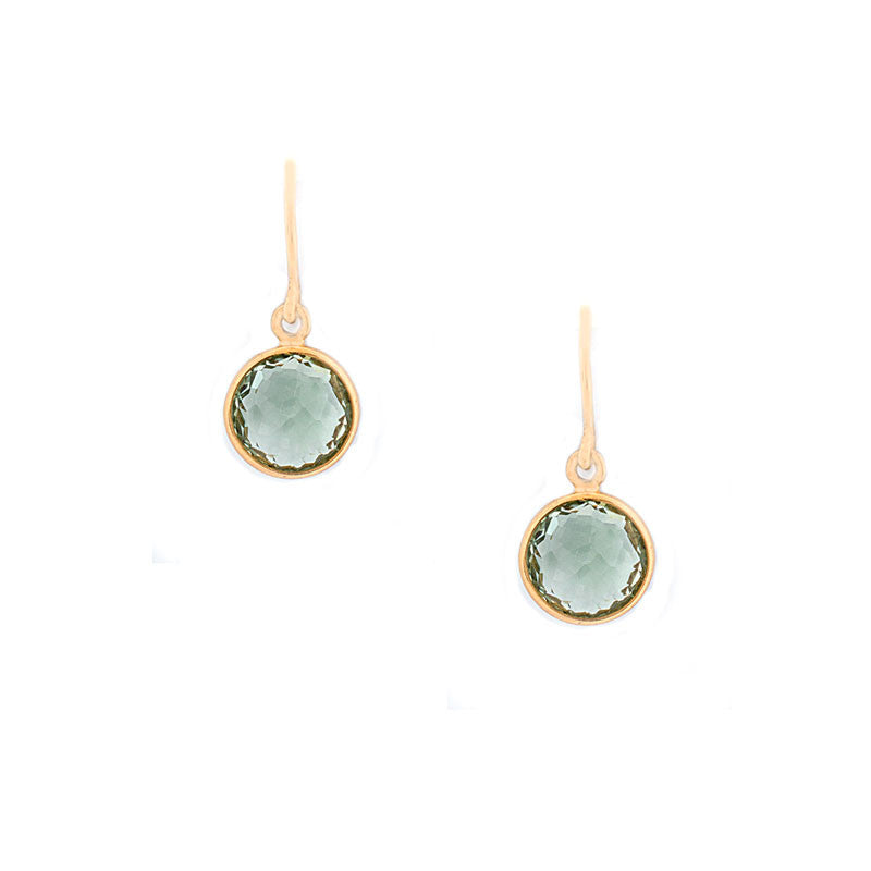Como Collection 8mm Round Prasiolite Earrings