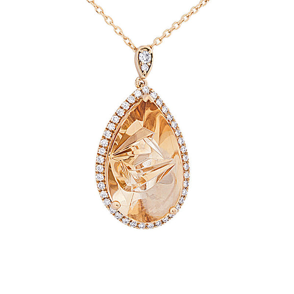 Giardino Collection Tom Munsteiner Pear Citrine and Diamond Necklace
