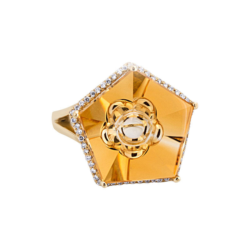 Giardino Collection Tom Munsteiner Pentagon Citrine and Diamond Ring