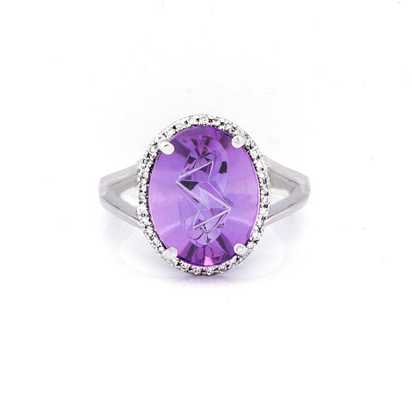 Giardino Collection Tom Munsteiner Oval Amethyst and Diamond Halo Ring