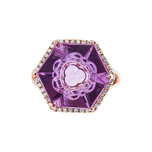 Giardino Collection Tom Munsteiner Hexagon Amethyst and Diamond Ring
