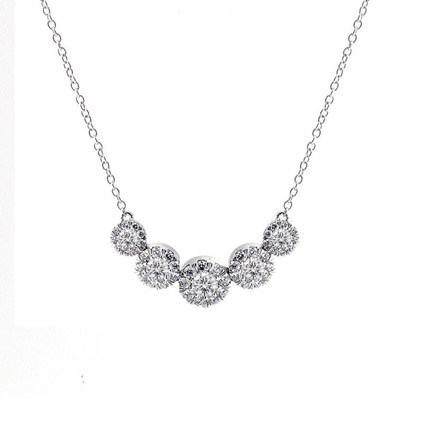 Aura Collection 5 Station Halo Diamond Necklace