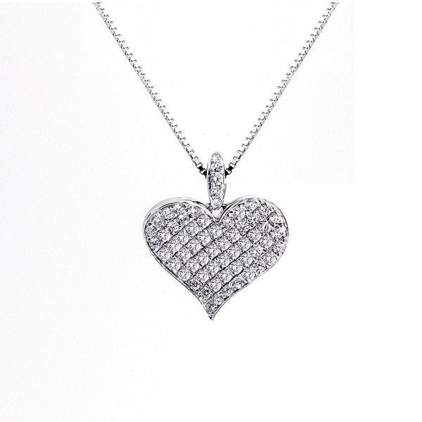Bellagio Collection Pave Diamond Heart Necklace
