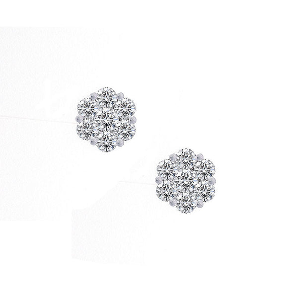 Bellagio Collection Diamond Cluster White Gold Earrings