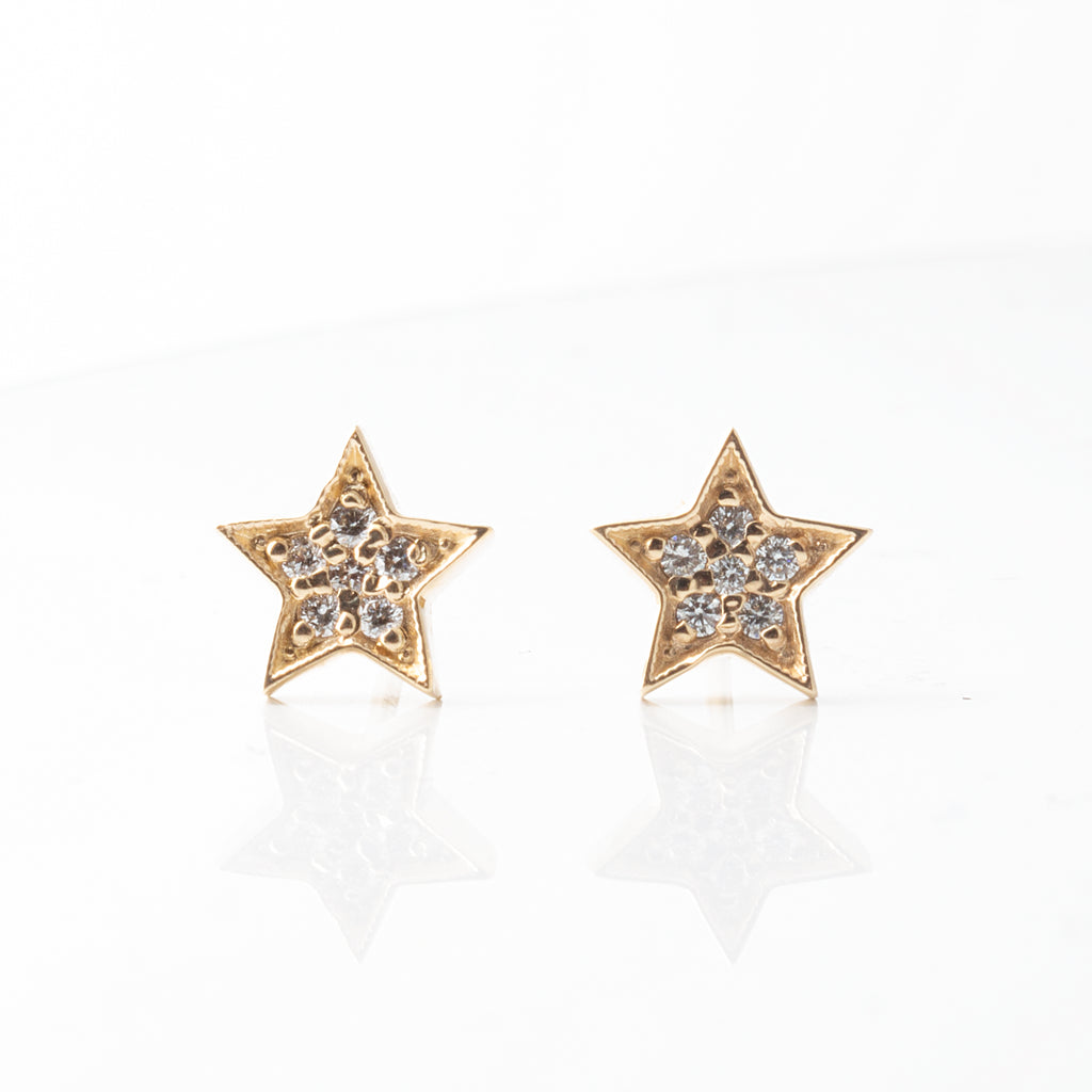 Celestial 7mm Pave Diamond Star Earrings