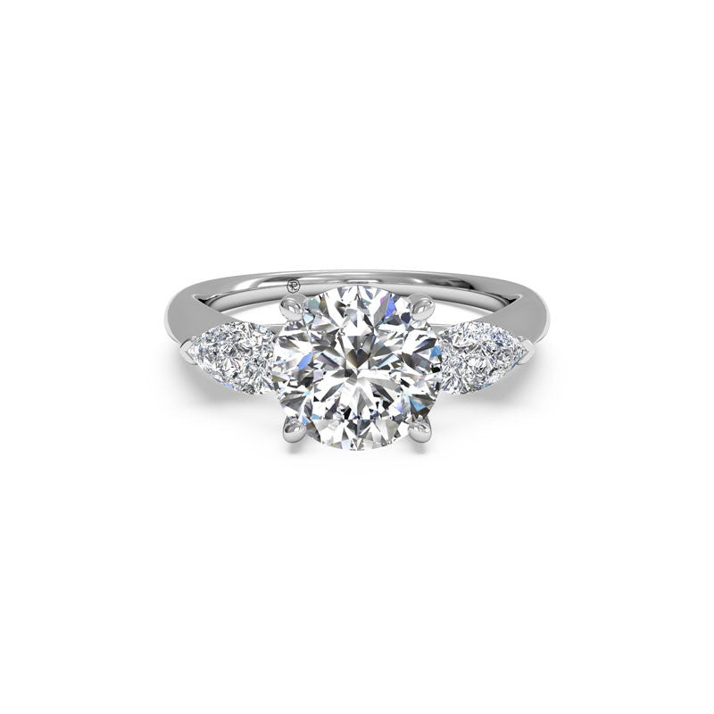 Ritani Three-Stone Round and Pear Brilliant Diamond Engagement Ring
