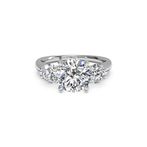 Ritani Three-Stone Round Brilliant Diamond Engagement Ring