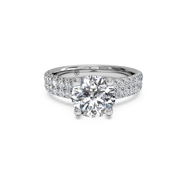 Ritani Two-Row French-Set Round Brilliant Diamond Engagement Ring